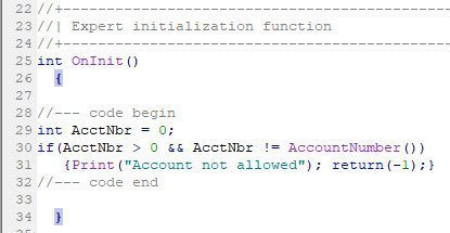 Code placed in oninit initialization function