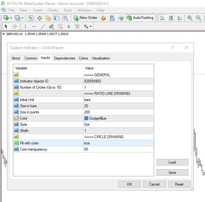 'Circle Drawer' settings in MetaTrader 4